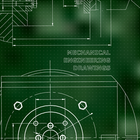 Mechanics. Technical design. Engineering style. Mechanical. Corporate Identity. Green background. Points  イラスト・ベクター素材