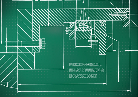 Mechanical engineering. Technical illustration. Backgrounds of engineering subjects. Technical design. Light green background. Points