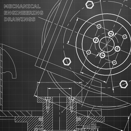 Mechanics. Technical design. Engineering. Black background. Grid