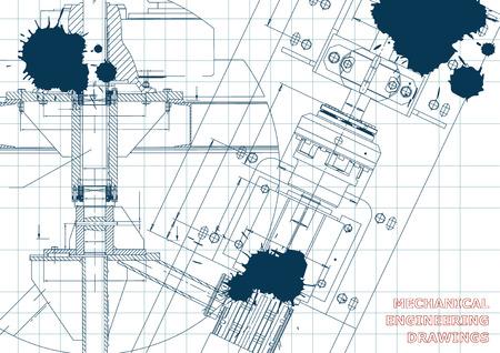 Mechanical engineering drawings. Technical Design. Blueprints. Draft. Ink. Blots Illustration