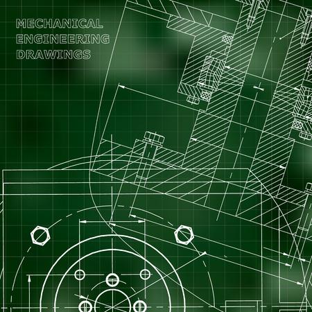Mechanics. Technical design. Engineering. Corporate Identity. Green background. Grid Illustration