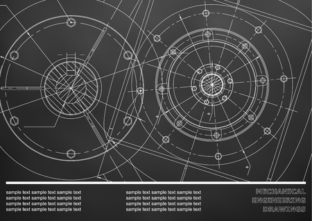 Vector Mechanical engineering drawings on a Black background. Background for inscription