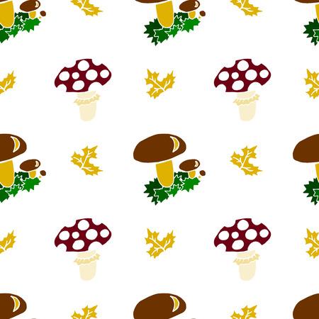 Kids, Cartoon seamless pattern. Original color drawings. Skarpbuking. Textiles, cartoon background. Mushrooms, mushroom, autumn leaves