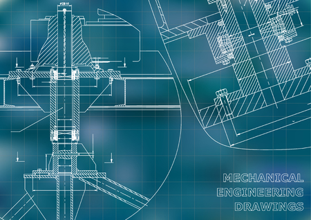 Mechanical engineering. Technical illustration. Backgrounds of engineering subjects. Technical design. Instrument making. Cover, banner, flyer, Blue background. Grid. Corporate Identity Vector Illustration