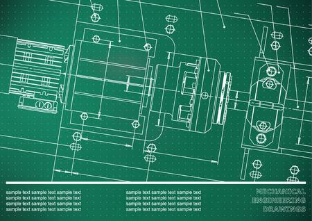 Dessins d'ingénierie mécanique sur un fond vert clair. Points. Vecteur. Contexte pour l'inscription Vecteurs