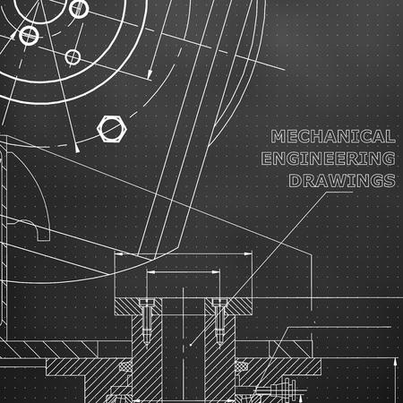 Mechanics. Technical design. Black background. Points
