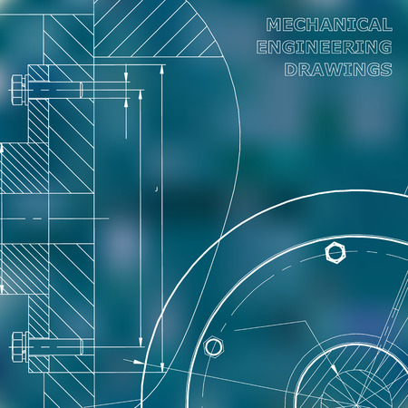 Blue background. Technical illustration. Mechanical engineering. Technical design. Instrument making. Cover, banner, flyer, background. Corporate Identity