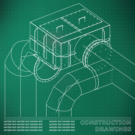 Drawings of steel structures. Pipes and pipe. 3d blueprint of steel structures. Light green background. Points