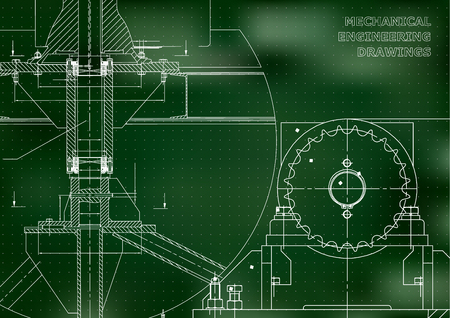 Engineering backgrounds. Mechanical engineering drawings. Blueprints. Cover. Technical Design. Green background. Points 矢量图像