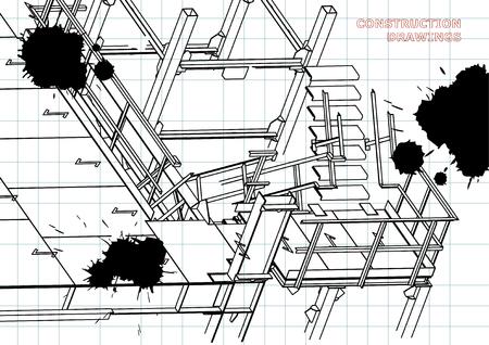 Building. Metal constructions. Volumetric constructions. 3D design. Abstract background. Draft. Black Ink. Blots