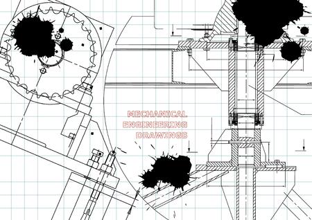Blueprints. Mechanical construction. Technical Design. Engineering illustrations. Banner. Draft. Black Ink. Blots