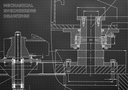 Machinebouw. Technische illustratie. Achtergronden van technische vakken. Technisch ontwerp. Instrumenten maken. Hoes. Zwarte achtergrond. Punten