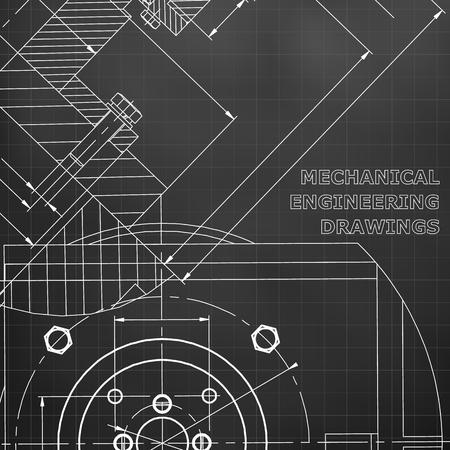 Mechanics. Technical design. Engineering. Mechanical Corporate Identity. Black background. Grid Illustration