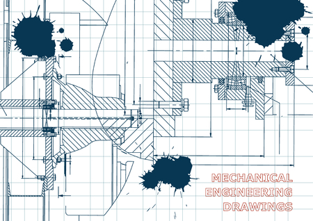 Technical illustration. Mechanical engineering. Backgrounds of engineering subjects. Technical design. Instrument making. Cover, banner, flyer, background. Draft. Ink. Blots
