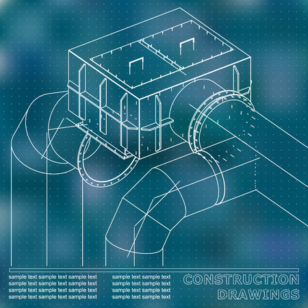 Drawings of steel structures. Pipes and pipe. 3d blueprint of steel structures. Blue background. Points