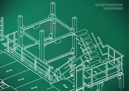 Building. Metal constructions. Volumetric constructions. Light green background