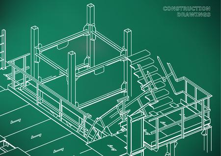 Building. Metal constructions. Volumetric constructions. Light green background