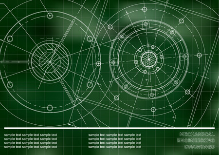 Vector Mechanical engineering drawings on a Green background. Grid. Background for inscription