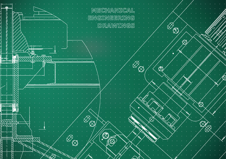Mechanical engineering drawings. Technical Design. Instrument making. Blueprints. Light green background. Points