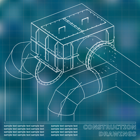 Drawings of steel structures. Pipes and pipe. 3d blueprint of steel structures. Blue background. Grid