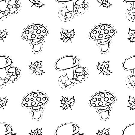 Kids, Cartoon seamless pattern. Textiles, cartoon background. Mushrooms, mushroom, autumn leaves