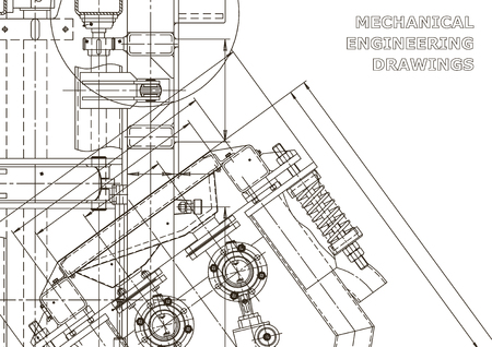 Mechanical engineering drawing. Machine-building industry. Instrument-making drawings. Computer aided design systems. Technical illustrations, backgrounds. Blueprint, diagram, plan Illustration