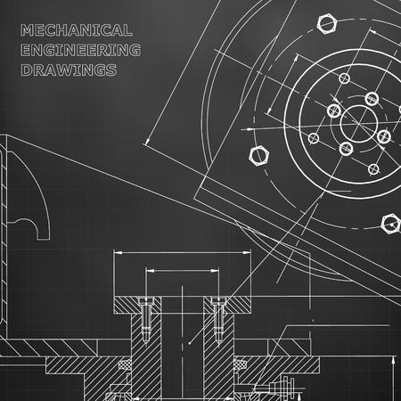 Mechanics. Technical design. Engineering style. Mechanical instrument making. Cover, flyer. Black background. Grid