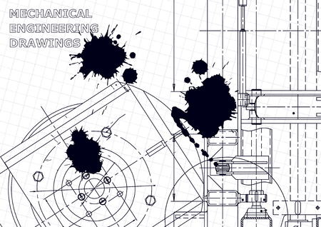 Vector engineering illustration. Instrument-making drawings. Mechanical engineering drawing. Computer aided design systems. Black Ink. Blots. Blueprint Ilustração