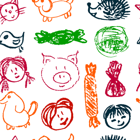 Seamless pattern. Draw pictures, doodle. Beautiful and bright design. Interesting images for backgrounds, textiles, tapestries. Faces sweets animals