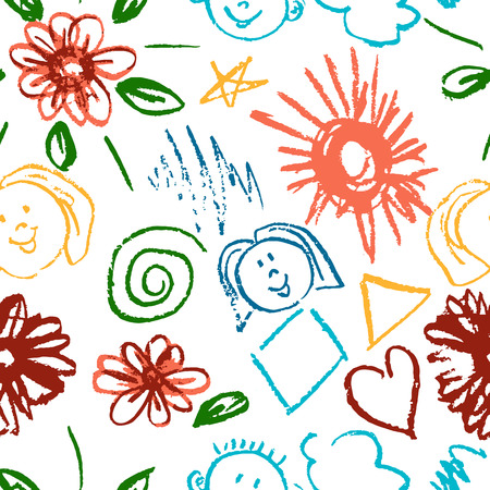 Seamless pattern. Draw pictures, doodle. Beautiful and bright design. Interesting images for backgrounds, textiles, tapestries. Flowers, clouds, sun, faces