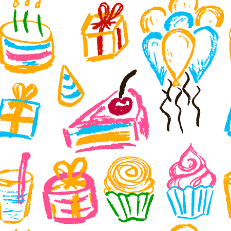 Seamless pattern. Draw pictures, doodle. Beautiful and bright design. Interesting images for backgrounds, textiles, tapestries. Cake balls Celebration