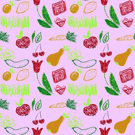 Cute stylish seamless pattern. Draw pictures, doodle. Beautiful and bright design. Interesting images for backgrounds, textiles, tapestries. Grass, vegetables fruits Illustration