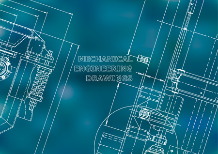 Blueprint, Sketch. Vector engineering illustration. Cover, flyer, banner, background. Instrument-making drawings. Mechanical engineering drawing. Technical illustrations. Blue background Standard-Bild - 120656990