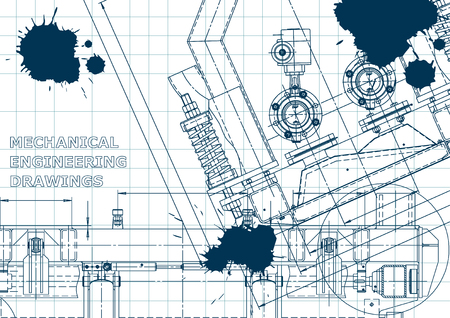 Blue Ink. Blots. Blueprint, scheme, plan, sketch. Technical illustrations, backgrounds. Mechanical engineering drawing. Machine-building industry. Instrument-making drawings Banque d'images - 120656993