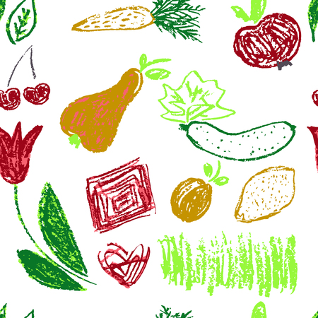 Seamless pattern. Draw pictures, doodle. Beautiful and bright design. Interesting images for backgrounds, textiles, tapestries. Grass, vegetables, fruits