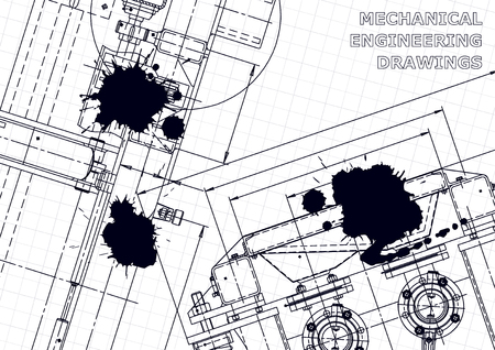 Sketch. Vector engineering illustration. Cover, flyer, banner, background. Instrument-making drawings. Black Ink. Blots. Technical illustrations Illustration