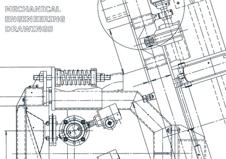 Sketch. Vector engineering illustration. Computer aided design systems. Instrument-making drawings. Mechanical engineering drawing. Technical