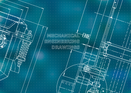 Blueprint, Sketch. Vector engineering illustration. Cover, flyer, banner, background. Instrument-making drawings. Mechanical engineering drawing. Technical illustrations. Blue background. Points