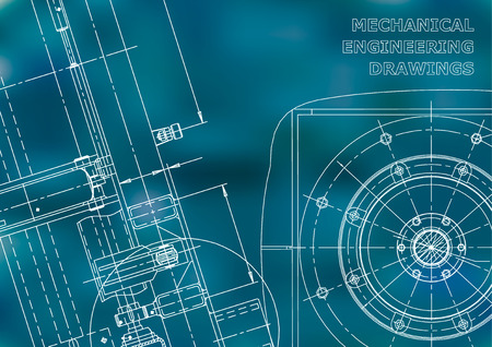 Blueprint. Vector drawing. Mechanical instrument making. Blue background Ilustrace
