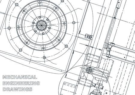 Cover. Vector engineering illustration. Blueprint, flyer, banner, background. Instrument-making