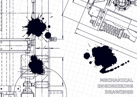 Technical abstract backgrounds. Mechanical instrument making. Black Ink. Blots