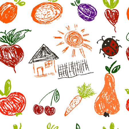 Seamless pattern. Draw pictures, doodle. Beautiful and bright design. Interesting images for backgrounds, textiles, tapestries. House, vegetables, fruits