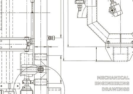 Antecedentes técnicos abstractos. Fabricación de instrumentos mecánicos. Ilustración técnica. Plano, portada