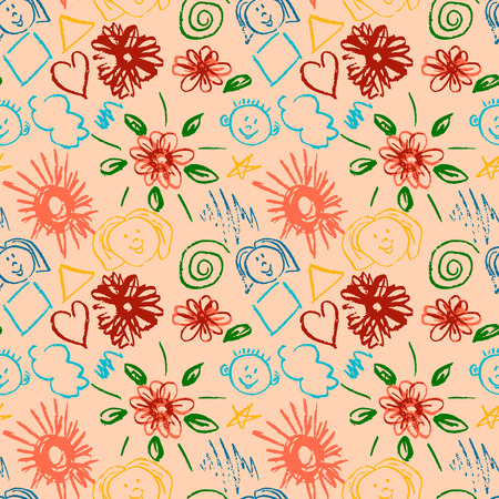 Cute stylish seamless pattern. Draw pictures, doodle. Beautiful and bright design. Interesting images for backgrounds, textiles, tapestries. Flowers, clouds, sun, faces