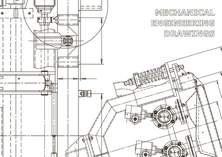 Machine-building industry. Instrument-making drawings. Computer aided design systems. Technical illustrations, backgrounds. Mechanical engineering drawing. Blueprint 일러스트