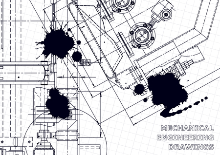 Technical abstract backgrounds. Mechanical instrument making. Black Ink. Blots. Blueprint, cover, banner. Vector drawing