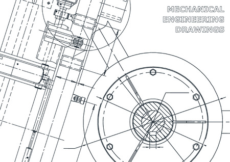 Cover, flyer. Vector engineering illustration. Blueprint banner background Instrument-making Stock Illustratie