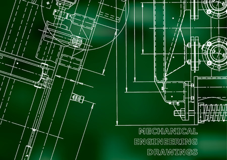 Blueprint. Vector engineering illustration. Computer aided design systems. Instrument-making drawings. Mechanical engineering drawing. Technical illustrations. Green background