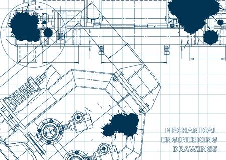 Computer aided design systems. Blueprint, scheme, plan, sketch. Technical illustrations Blue Ink Blots