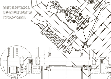 Mechanical instrument making. Technical illustration. Blueprint, cover, banner. Vector engineering drawing